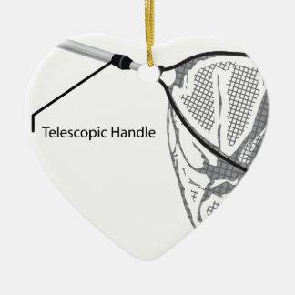 Landing net for fishing illustration marked ceramic heart ornament