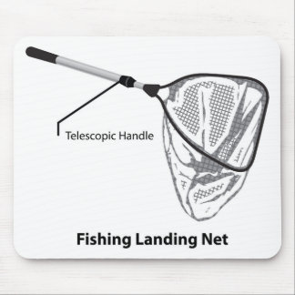 Landing net for fishing illustration marked mouse pad