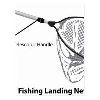 Landing net for fishing illustration marked postcard