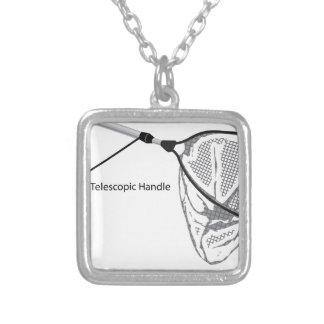 Landing net for fishing illustration marked silver plated necklace