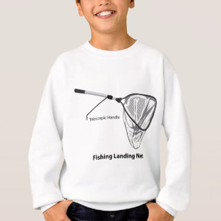 Landing net for fishing illustration marked sweatshirt