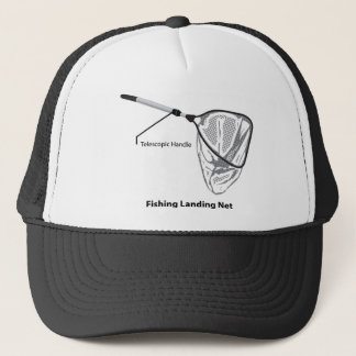 Landing net for fishing illustration marked trucker hat