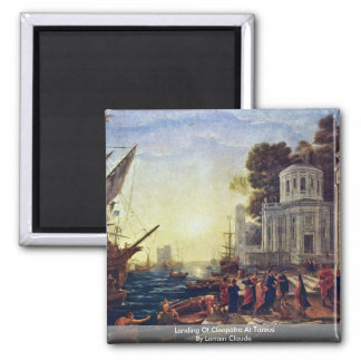 Landing Of Cleopatra At Tarsus By Lorrain Claude Square Magnet