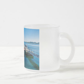 Landing stag and speed boat frosted glass coffee mug