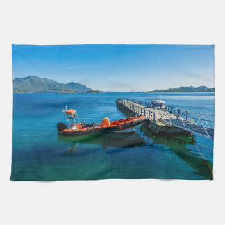 Landing stag and speed boat kitchen towel