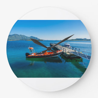 Landing stag and speed boat large clock