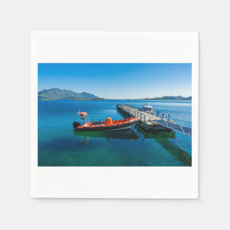 Landing stag and speed boat napkin