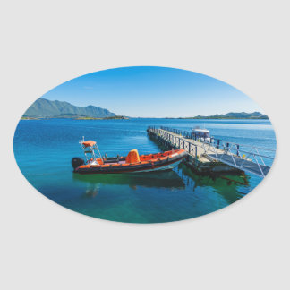 Landing stag and speed boat oval sticker