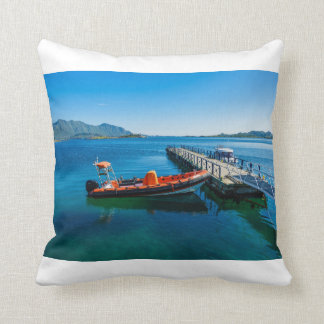 Landing stag and speed boat throw pillow