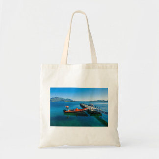 Landing stag and speed boat tote bag