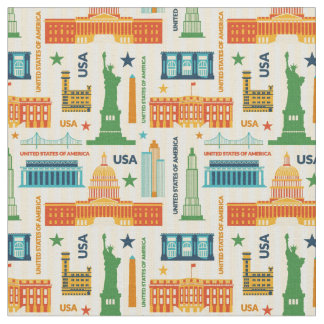 Landmarks of United States of America Fabric