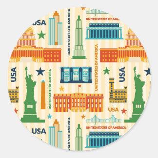 Landmarks of United States of America Round Sticker