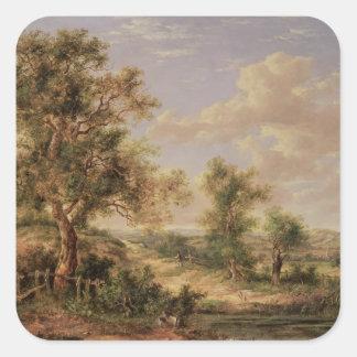 Landscape, 19th century square sticker