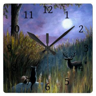 Landscape 464 Moon Black Cat Squirrel Deer Square Wall Clock