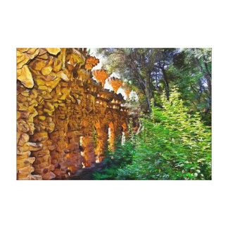 Landscape against the sun. The art of Gaudi. Canvas Print