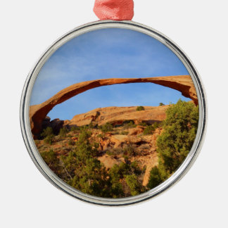 Landscape Arch at Arches National Park Silver-Colored Round Ornament