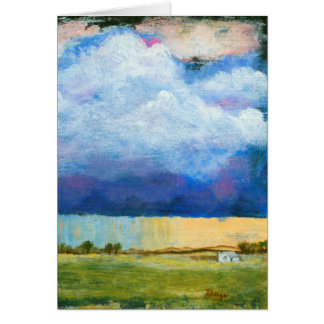 Landscape Art Painting House Rain Storm Clouds Card
