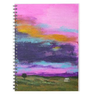 Landscape Art Painting, Pink Sunset, Tiny House Notebook