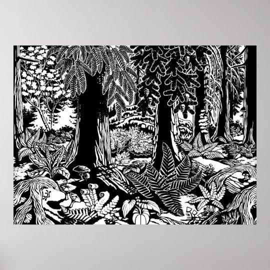 Landscape Art Poster B & W Forest Art Wood Print