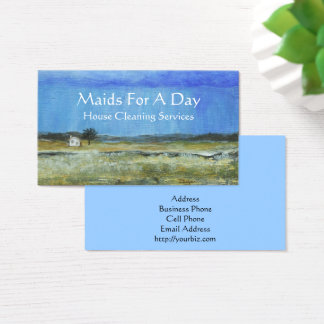 Landscape Art Tiny House Rain Storm Cleaning Maid Business Card