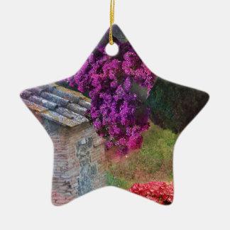 Landscape ,buganvillas  in full color ceramic star ornament