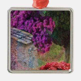 Landscape ,buganvillas  in full color Silver-Colored square ornament