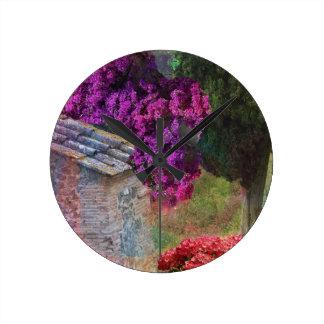 Landscape ,buganvillas  in full color wallclock