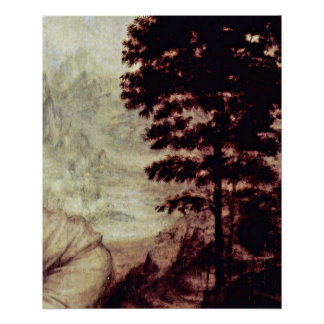 Landscape by Leonardo di ser Piero da Vinci Posters