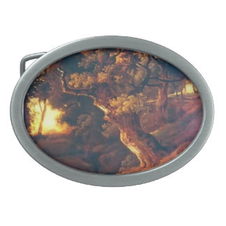 Landscape, cows, human by Thomas Gainsborough Oval Belt Buckles