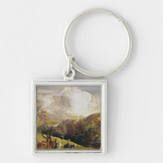 Landscape, figures and cattle Silver-Colored square keychain