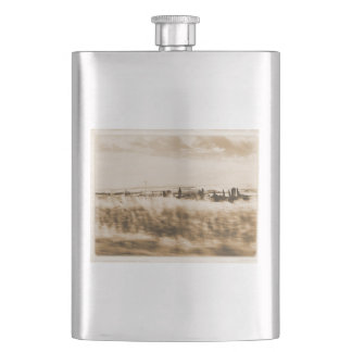 Landscape from the window of an automobile hip flask