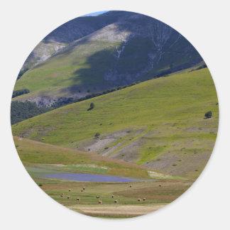 Landscape in the Sibillini Mountains in Italia Classic Round Sticker