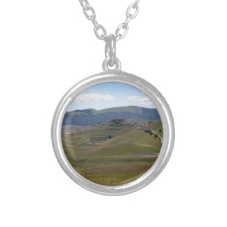 Landscape in the Sibillini Mountains in Italy Silver Plated Necklace