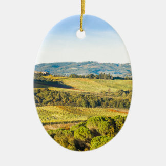 Landscape in Tuscany, Italy Ceramic Oval Ornament