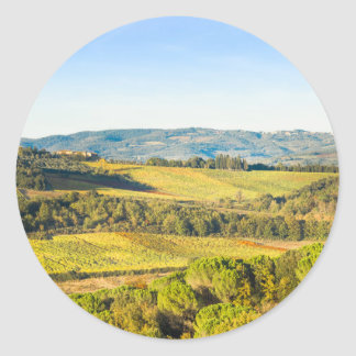 Landscape in Tuscany, Italy Classic Round Sticker