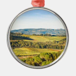 Landscape in Tuscany, Italy Silver-Colored Round Ornament