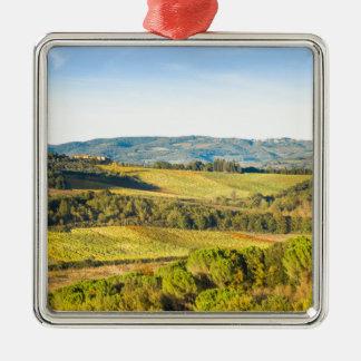 Landscape in Tuscany, Italy Silver-Colored Square Ornament