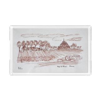 Landscape Mont Saint-Michel | Normandy, France Acrylic Tray