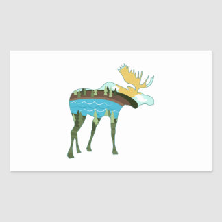 Landscape Moose Rectangle Stickers