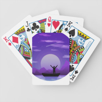 Landscape night illustration bicycle playing cards