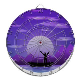 Landscape night illustration dartboard
