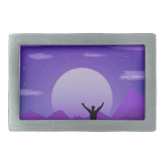 Landscape night illustration rectangular belt buckle
