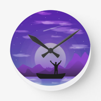 Landscape night illustration round clock