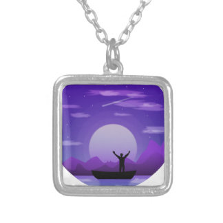 Landscape night illustration silver plated necklace