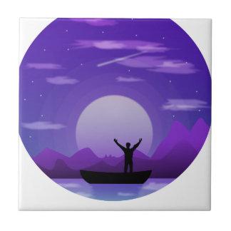 Landscape night illustration tile