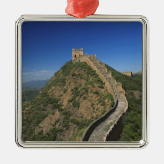 Landscape of Great Wall, China Silver-Colored Square Ornament