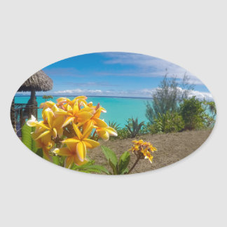 Landscape off will bora will bora oval sticker