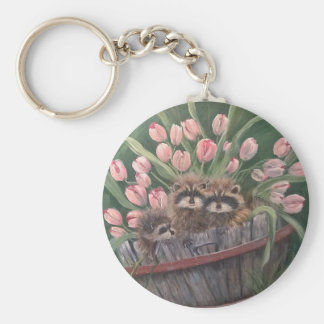 landscape paint painting hand art nature Racoons Basic Round Button Keychain