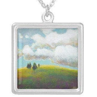 Landscape painting contemporary impressionism art square pendant necklace