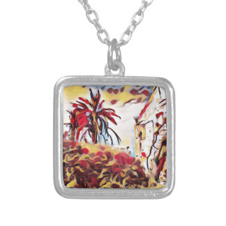 LANDSCAPE PAINTING SOUTH SPAIN SILVER PLATED NECKLACE